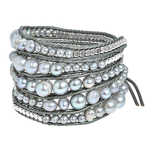 (AeraVida Earthy Cultured Freshwater Pearl-Fashion Silver Beads Leather Wrap Bracelet)