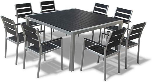 Exterior Muebles De Jardín Nueva Aluminio Resina Juego de sillas y mesa de comedor cuadrada: Amazon.es: Jardín