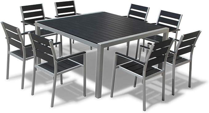 Mangohome Ios 9 Piece Square Dining Set Garden Outdoor Amazon Com