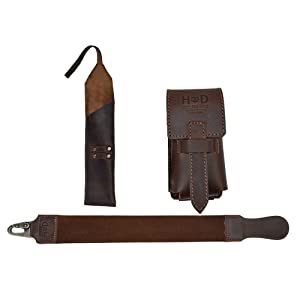 Hide & Drink, Barber Essentials (Set of 3), Leather Razor Strop, Case for Straight Razor & Brush, For Shaving/Stropping/Grooming/Beard, Handmade Includes 101 Year Warranty :: Bourbon Brown