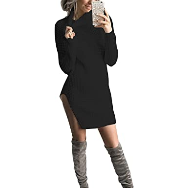Yidarton Femme Robe Pull Longue En Maille Hiver Sexy Loose Manches Longues  Pullover Tricot Chandail Jumper de46022df4e9