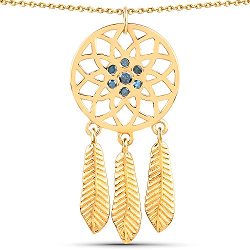 LoveHuang 0.18 Carats Genuine Blue Diamond (I-J, I2-I3) Dream Catcher Pendant Solid .925 Sterling Silver With 18KT Yellow Gold Plating, 18Inch ()