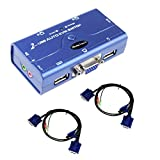 2 Port VGA Auto KVM Switch with USB 2.0 Hub,Resolution Up to 2048x1536 for PC Monitor/Keyboard/Mouse Control