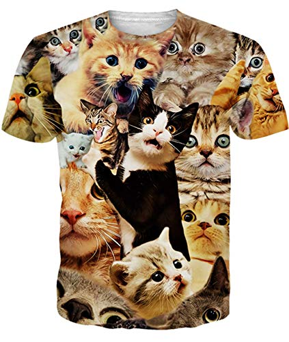 Junior Mens Funny T Shirt Cute Cats Kitty Graphic Printed Short Sleeve Tees Tops XXL