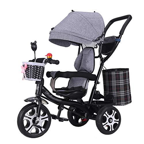 4-en-1 Cochecito de bebé Triciclo Moto Marco de Acero de Alto Carbono Triciclo para niños con Asiento Giratorio y arnés de...