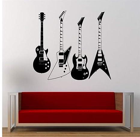 Myvovo Recogió Cuatro Tipos De Guitarras Eléctricas Tatuajes De Pared Musical Fresco Instrumento De Rock Pegatinas