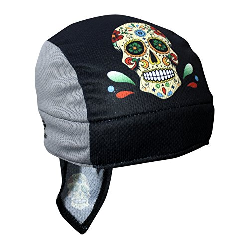 Headsweats 8740-802SBSS Super Duty Sublimated Shorty Sweat Band, Sugar Skull, One Size