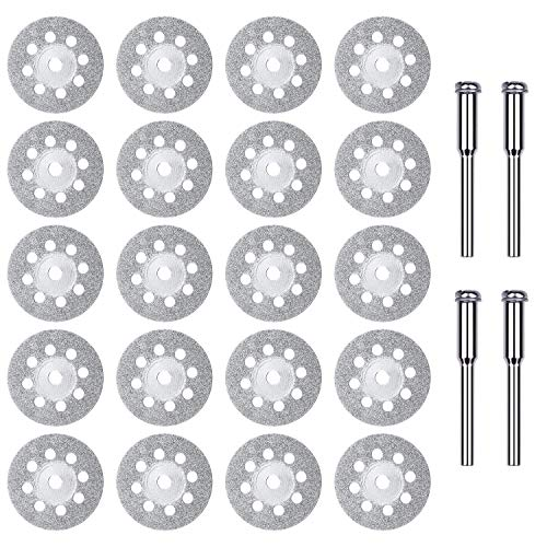 24PCS Diamond Cutting Wheel 22mm with Mandrel, Dremel Diamond Blade for Glass
