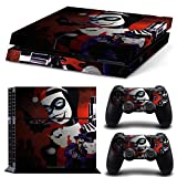 Ambur® PS4 Console Designer Skin for Sony PlayStation 4 System plus Two(2) Decals for: PS4 Dualshock Controller --- Cartoon Harley Quinn