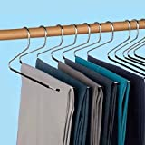 Premium 12 piece set Slacks Hangers Black Chrome Open Ended pants Easy Slide Organizers