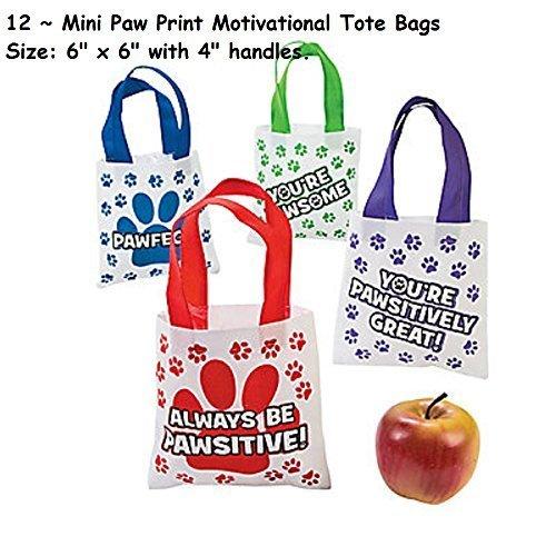 (12 ~ Mini Paw Print Motivational Tote Bags ~ New)