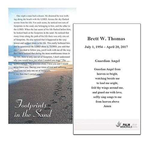 Set of 50 Custom Funeral - Memorial - Mass Cards (Footprints in the Sand) ()