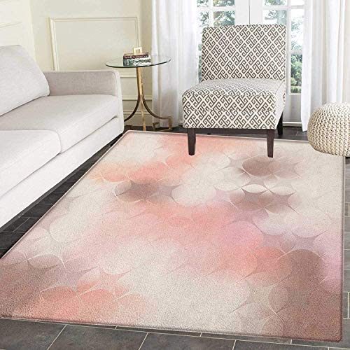 Peach Area Rug Carpet Abstract Square Shapes with Cross Pattern Warm Color Scheme Modern Artwork Print Living Dining Room Bedroom Hallway Office Carpet 5'x6' Coral Umber