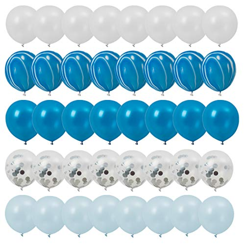 FT.Sky Blue Confetti Balloons Set of 40 Latex Balloons for Baby Shower Birthday Wedding Party Decoration