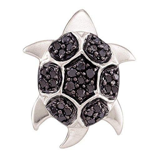 Black Diamond Turtle Pendant 14k White Gold Tortoise Charm Fashion Style Polished Fancy 1/5 ()