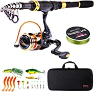 Sougayilang Fishing Rod Reel Combos Carbon Fiber Telescopic Fishing Pole with Spinning Reel for Travel Saltwat