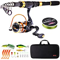 Sougayilang Fishing Rod Reel Combos Carbon Fiber...