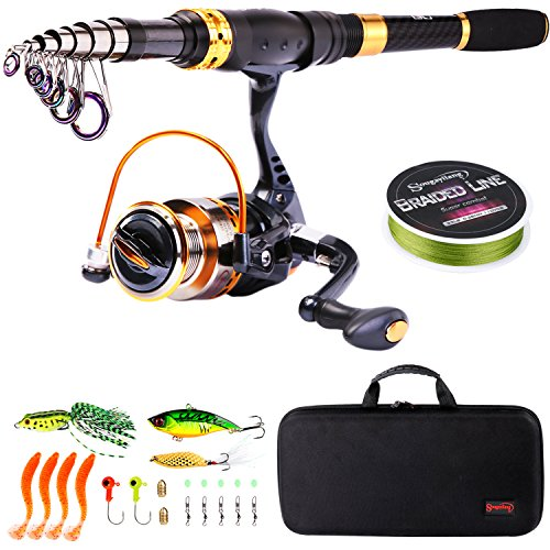 Fishing Kit Telescopic (Sougayilang Telescopic Fishing Rod Reel Combos Portable Fishing Pole with Spinning Reel Fishing Carrier Bag for Travel Saltwater Freshwater Fishing)