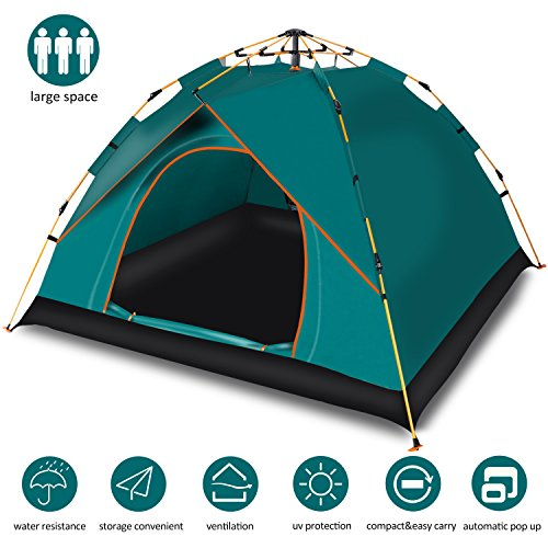 Cheryu Automatic Instant Tent for Camping Hiking Beach Fishing Picnic Travel,Portable Outdoor Anti-UV Waterproof Instant Pop Up 2-3 Persons 4 Season Backpacking Tent with Carry Bag (Green)