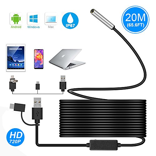 USB Endoscope, Ihong 3 in 1 20M 720P 5.5MM HD Borescope Inspection Camera Waterproof Snake Camera with USB Type-C Connector 6 Adjustable LED Lights for Android Windows&MacBook OS Computer Laptop