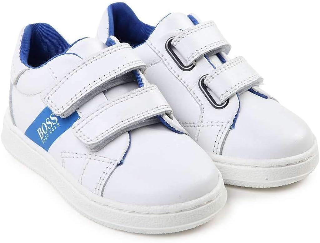 Hugo Boss Kids White Leather Trainers