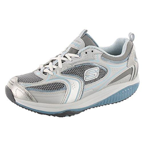Skechers Women's Shape Ups XF Accelerators Lace-Up Fashion Sneaker,Silver Blue,8.5 M - For Shape Women