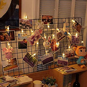 LED Photo String Lights-Magnoloran 20 Photo Clips Battery Powered Fairy Twinkle Lights Cards and Artwork Wedding Party Home Decor Lights for Hanging Photos SYNCHKG090796 7.2 Feet, Warm White