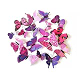 Designs of Kitchen Window Curtains Love DIY Home(TM)3D Butterfly Stickrs 12 Pcs Design DIY Wall Decoration Home Wall Decor (Purple)