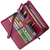 Women's Big Fat Rfid Blocking Leather Clutch Wallet Organizer Checkbook Holder (Raspberry Wine)