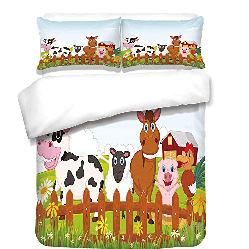 Yaoni 3Pcs Duvet Cover Set,Animal,Cute Farm Creatures with Cow Horse Goat Pig and Chicken by The Fences Kids Cartoon,Multicolor,Best Bedding Gifts for Family/Friends
