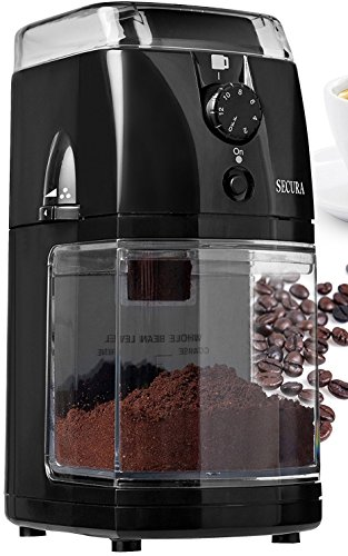 Secura SCG-903B Automatic Electric Burr Coffee Grinder Mill, Black