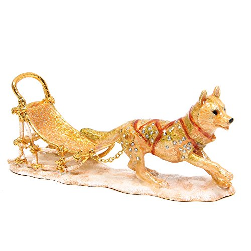- QIFU-Hand Painted Enameled Sled Dogs Decorative Hinged Jewelry Trinket Box Unique Gift for Home Decor