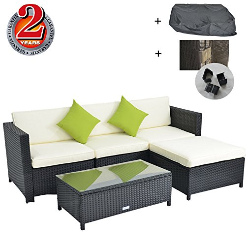 Outdoor Rattan Wicker Sofa Set Garden Patio Furniture Cushioned Sectional Conversation Sets-Easy Assembled(Black,5 Piece) (Rattan Dining Chairs Uk)