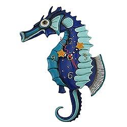 Allen Designs Resin Wall Clocks Allen Designs Salty Seahorse Blue Pendulum Wall Clock 8.5 X 13 X 1.5 Inches Blue
