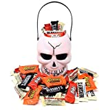 Halloween Gift Skull White Bucket with Reese's, Whoppers, Hershey's and KitKat, Assorted Chocolate Bar Candies, 2 Lbs