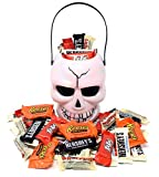 #3: Halloween Candy Gift Skull White Bucket with Reese's, Whoppers, Hershey's and KitKat, Assorted Chocolate Bar Candies, 2 Lbs