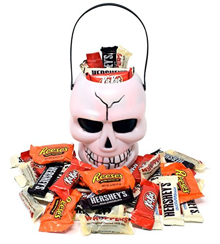 Halloween Candy Gift Skull White Bucket with Reese's, Whoppers, Hershey's and KitKat, Assorted Chocolate Bar Candies, 2 Lbs