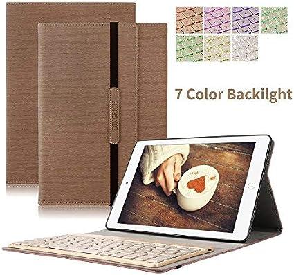 iPad Pro 10,5 Teclado Caso, dingrich Smart Cover de Encendido y Apagado automático para iPad Pro 10,5 de Piel sintética con retroiluminación Teclado ...