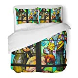 SanChic Duvet Cover Set Prague Czech Republic April Stained Glass Window in St Vitus Cathedral Designed Alphonse Mucha Decorative Bedding Set 2 Pillow Shams King Size