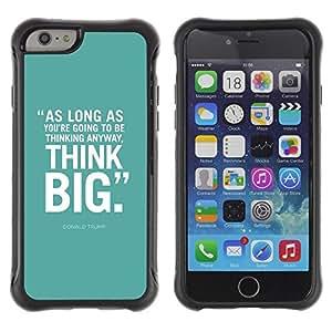 LASTONE PHONE CASE / Suave Silicona Caso Carcasa de Caucho Funda para Apple Iphone 6 / mint green think big inspiring text poster