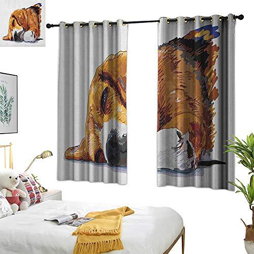 Warm Family Grommet Curtains Beagle,Dog Sleeping Canine Friendly Animal Companion Cute Puppy Love Illustration, Cinnamon Brown White 84x96,Print Room Darkening Living Room Curtain