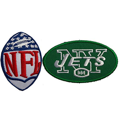 Hipatch New York Jets Embroidered Patch Iron on Logo Vest Jacket Cap Hoodie Backpack Patch Iron On/sew on Patch Set of 2Pcs