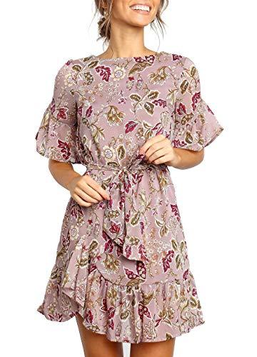 - Geckatte Womens Ruffle Dresses Summer Casual Short Sleeve Wrap Empire Waist Belts Mini Dress (Small, Z2-Pink)