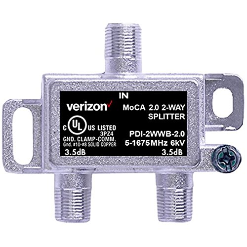 Verizon FiOS 2 Way MoCA 2.0 Splitter PDI-2WWB-2.0 3.5dB with Screw Set by Verizon