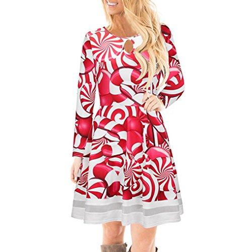 8304917f03d hot sale Femmes robe de dentelle imprimée de noël dames manches longues  mini robe GongzhuMM (