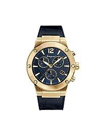 Salvatore Ferragamo Men's 'F-80' Swiss Quartz Stainless Steel and Leather Casual Watch, Color:Blue (Model: FIJ060017)