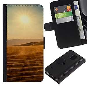 Ihec-Tech / Flip PU Cuero Cover Case para Samsung Galaxy S5 V SM-G900 - Desert views