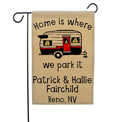 Home is Where We Park It Personalized Camping Custom RV Flags made our camp flag list of the most awesome camping flag and cool rv flags and camping flags spinners