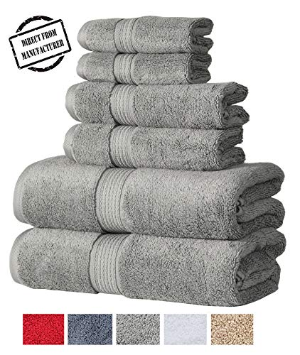 - Zero Twist Cotton Premium 6 piece Towel Set- 2 Extra Large Bath Towels 2 Hand Towel 2 Washcloths Highly Absorbent  Soft by Avira Home(Gray)