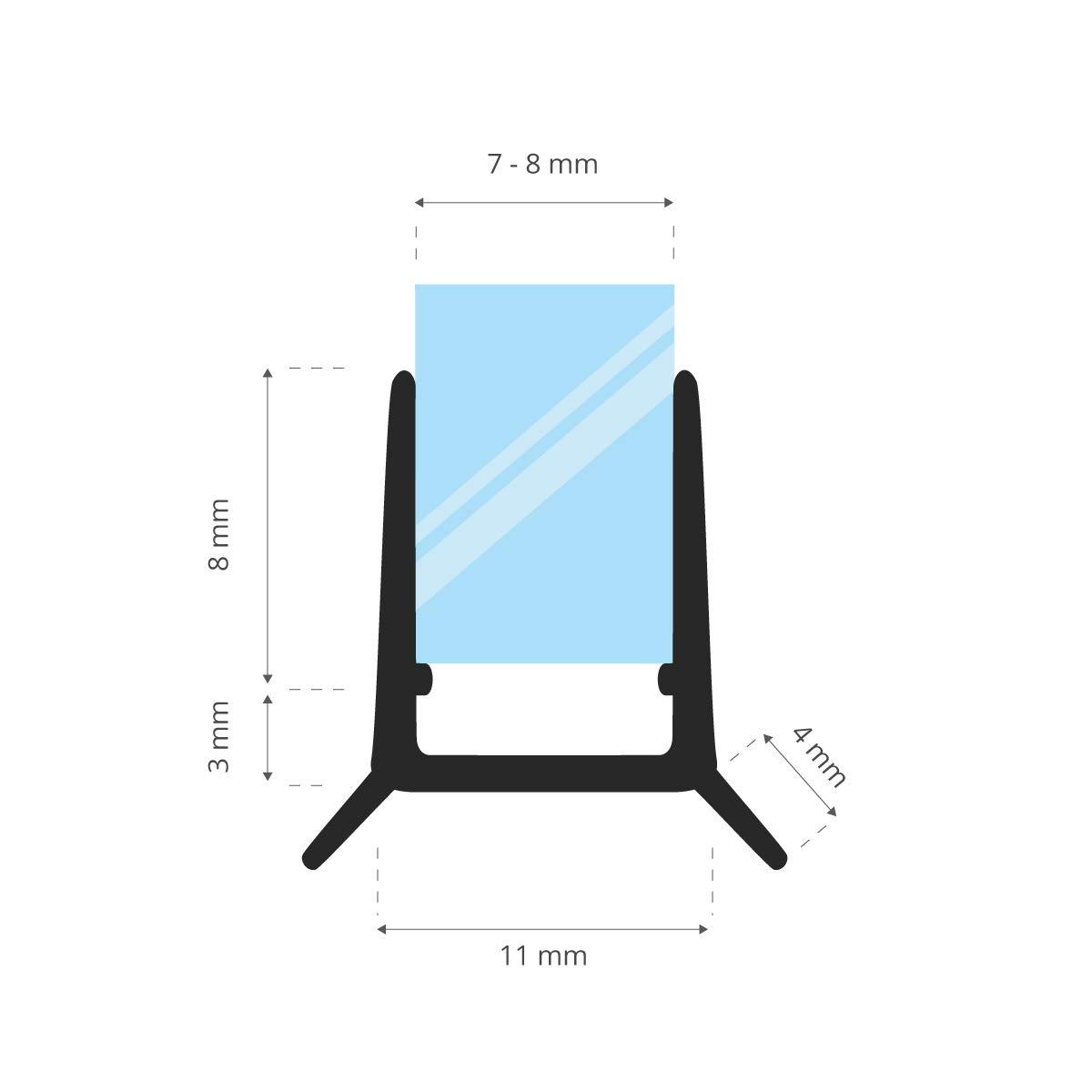 STEIGNER 80cm UK24-08 Guarnizione box doccia per 7mm//8mm Spessore del vetro Guarnizione doccia sostitutiva deflettente Protegge la cabina dallumidit/à dritta